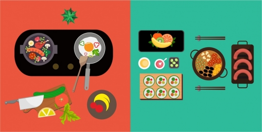 cooking preparing background food kitchenwares icons colorful design