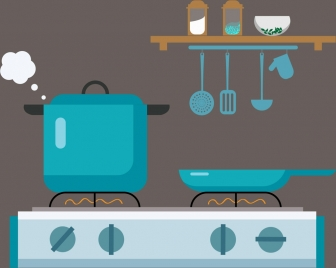 cooking tools design elements various colored symbols