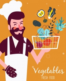 cooking work background chef vegetable basket icons