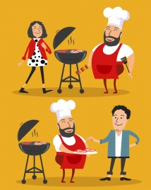 cooking work background cook barbecue icons colored cartoon