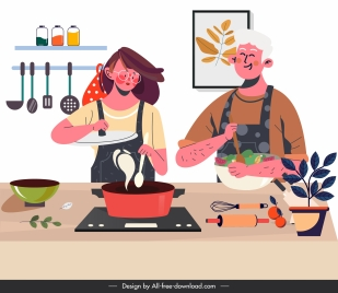 cooking work painting colored cartoon sketch