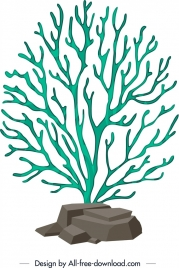 coral background green tree stone icons 3d design