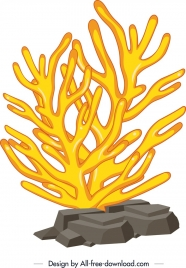 coral painting yellow shaped tree icon 3d desgin