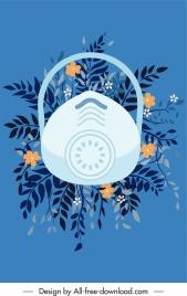 corona epidemic background flowers mask sketch