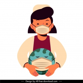 corona virus icon nurse stylized earth cartoon character