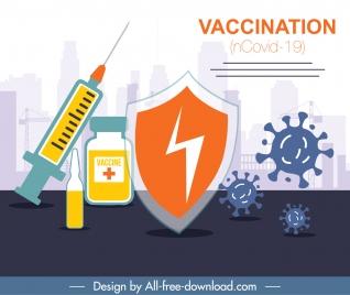 corona virus vaccination banner classic flat medical symbols