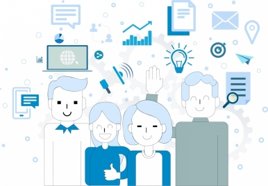 corporate background people icons business design elements sketch