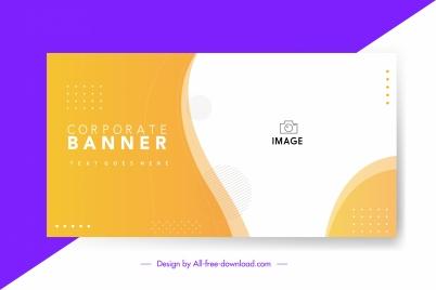 corporate banner template bright orange white curves decor