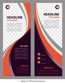 corporate banner template checkered curves decor vertical design