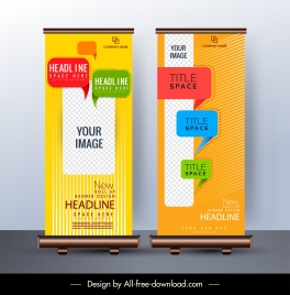 corporate banner template colorful decor standee shape