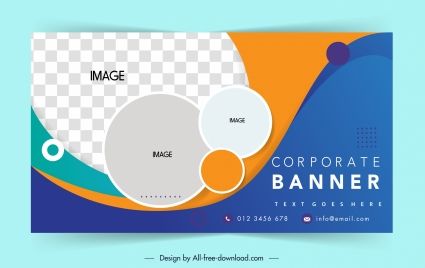 corporate banner template colorful flat curves circles decor
