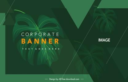 corporate banner template dark green leaves decor