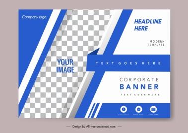 corporate banner template elegant blue white checkered decor