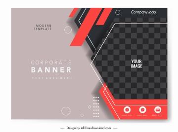 corporate banner template elegant modern dark checkered decor