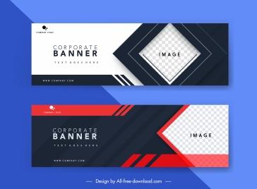 corporate banner template horizontal design checkered contrast decor