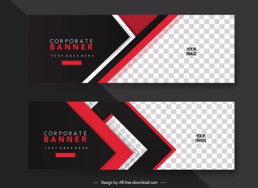 corporate banner template modern elegant contrast checkered decor