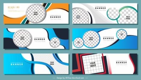 corporate banner templates checkered decor colored modern design
