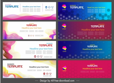 corporate banner templates colorful contemporary flat 3d decor