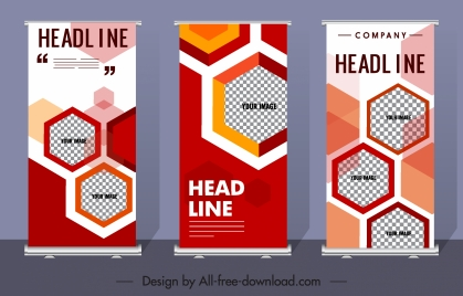 corporate banner templates colorful flat checkered polygonal decor