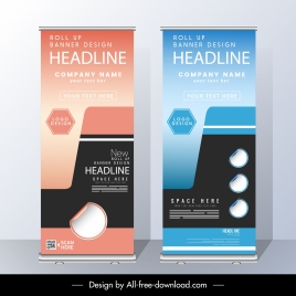 corporate banner templates colorful modern standee shape decor