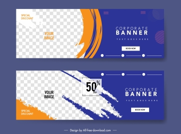 corporate banner templates flat checkered grunge decor