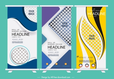 corporate banner templates modern bright colorful checkered decor