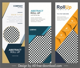 corporate banner templates modern colorful checkered vertical shape