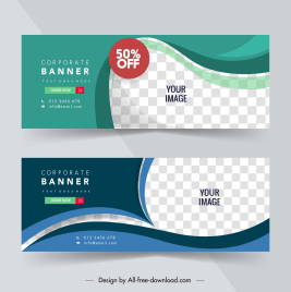 corporate banner templates modern elegant dynamic checkered curves