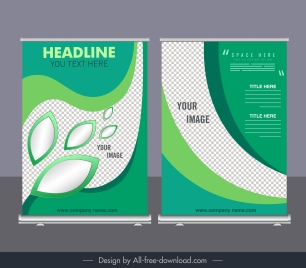 corporate banner templates modern green checkered curves decor