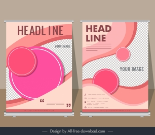 corporate banner templates pink circles curves decor