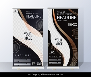 corporate banner templates roll up shape elegant modern