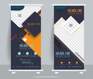 corporate banner templates standee shape modern geometric decor