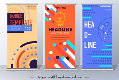corporate banner templates technology themes colorful vertical design