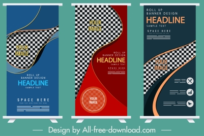 corporate banners templates dark colorful checkered vertical design
