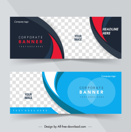 corporate banners templates elegant modern checkered curves decor