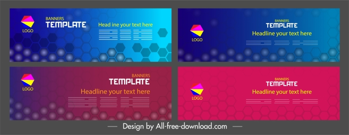 corporate banners templates modern colored flat polygonal decor