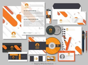 corporate branding identity sets simple flat dynamic colors