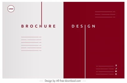 corporate brochure template flat plain white red decor