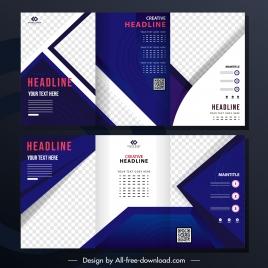 corporate brochure template modern checkered decor trifold shape