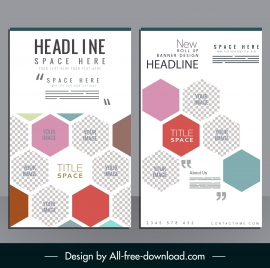 corporate brochure template modern checkered flat polygon decor