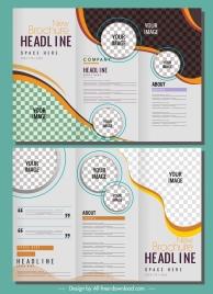 corporate brochure template modern trifold shape checkered decor