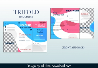 corporate brochure template trifold shape modern deformed decor