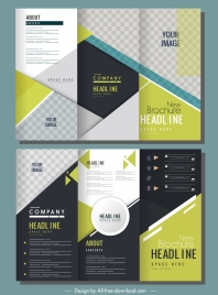 corporate brochure templates trifold shape modern elegant checkered