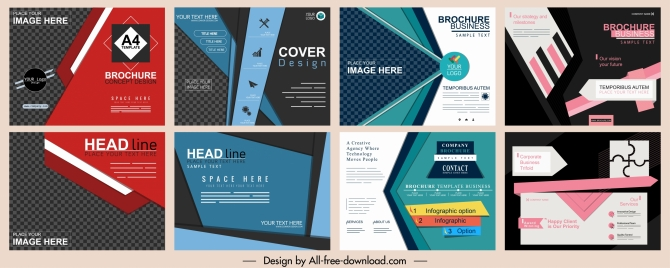 corporate brochures collection elegant colored modern abstract decor