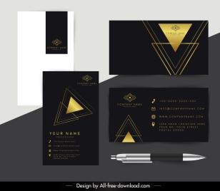 corporate cards template luxury golden black triangles decor