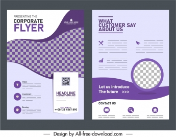 corporate flyer cover templates elegant violet checkered decor