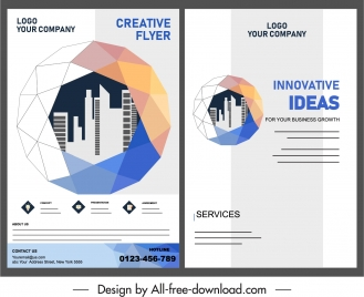corporate flyer template 3d polygonal sphere city silhouette