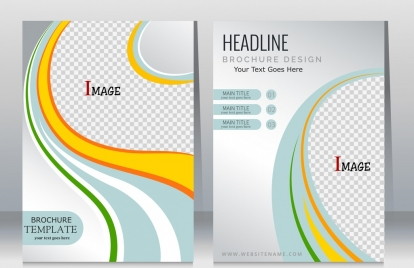 corporate flyer template checkered curves decoration