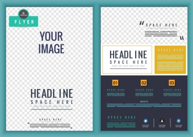 corporate flyer template checkered decoration modern design