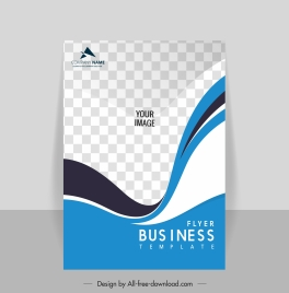 corporate flyer template elegant checkered curves decor